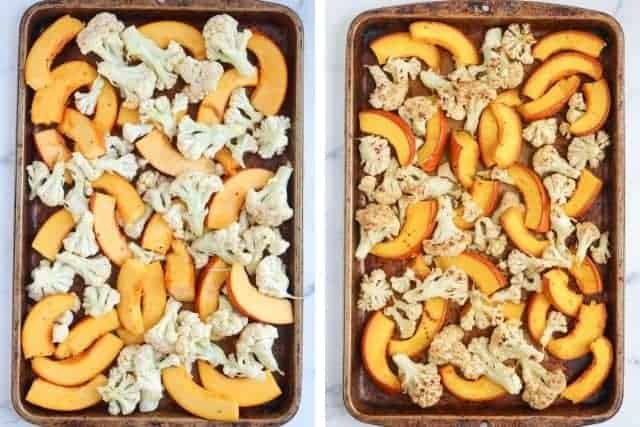 roasting pumpkin and cauliflower on a baking sheet, two photos side by side, before and after roasting
