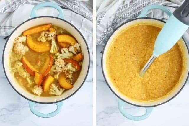 blending cauliflower pumpkin soup on a light blue dutch oven, side by side photos before and after blending